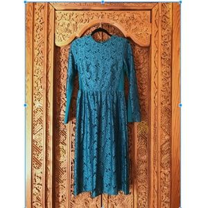 H&M Teal Lace Vintage-Inspired Midi Dress